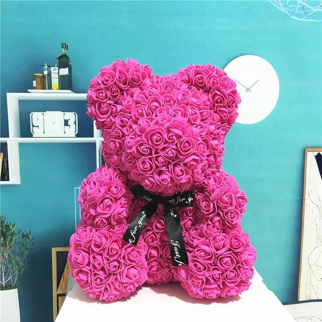 2019 Venta caliente 25 cm jabón espuma Oso de rosas oso Rosa flor Artificial Año Nuevo regalos para mujeres san Valentín de regalo de Navidad