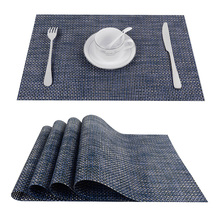 Set of 4 PVC Cross weave Placemats for Dining Table Runner Linens place mat in Kitchen Accessories Cup Wine mat coaster pad