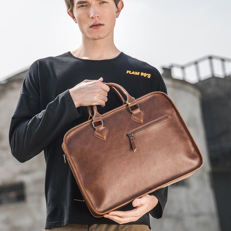 Image 2 - Brand Crazy Horse PU Leather Men Briefcase Vintage 13 inch Big  Business Laptop Handbag Fashion Brown Messenger Shoulder Bag  ManBriefcases