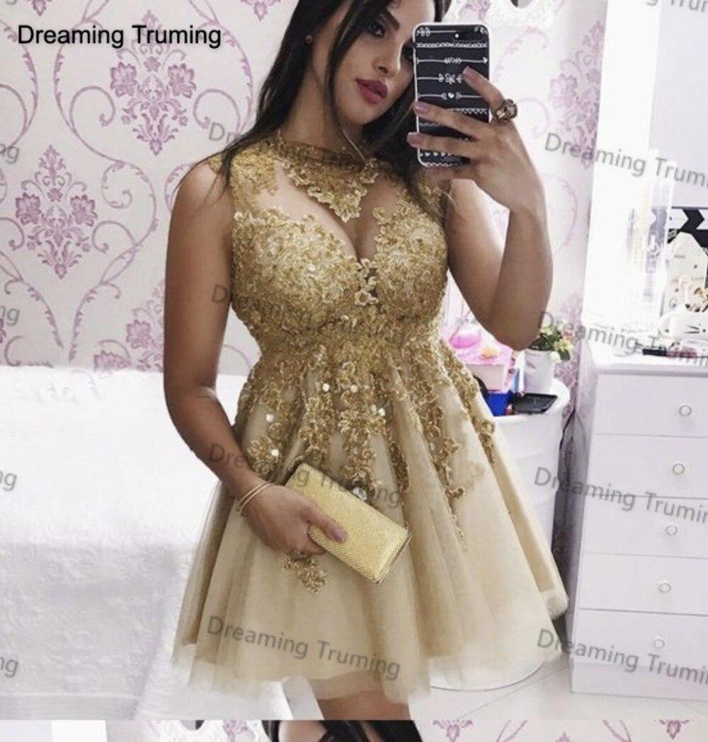100% Wahr Sparkly Gold Spitze Kurze Cocktail Party Kleid Mit Appliques Spitze Eine Linie Frauen Elegante Günstige Abendkleider Nach Maß