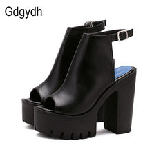 Gdgydh Hot Sale European Women Summer Shoes Slingbacks High Heels Sandals Platform Casual Shoes for Party 2019 New Black Size 42(China)