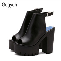 Gdgydh Hot Sale European Women Summer Shoes Slingbacks High Heels Sandals Platform Casual Shoes for Party 2019 New Black Size 40