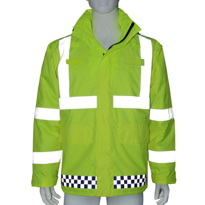 Waterproof Reflective Jacket Rain Coat High visibility Outdoor Working Tops Fluorescent Yellow Hooded Safety Workwear Clothing spardwear waterproof high visibility