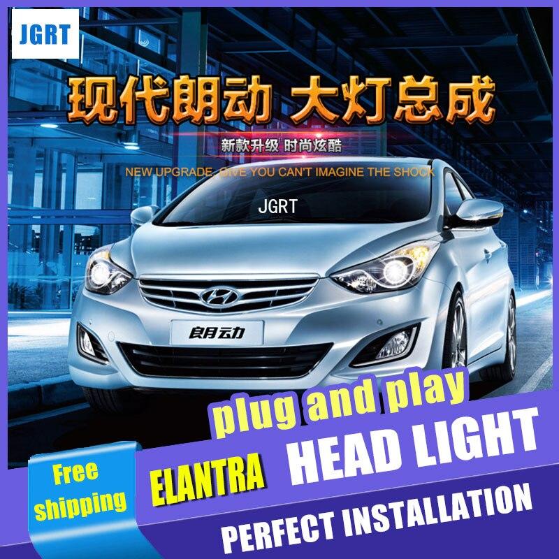 Стайлинга автомобилей для Hyundai Elantra в сборе фара 09-15 для Elantra привел глава лампы глаза Ангела светодиодные передние ДХО с ламп H7 HID комплект 2шт