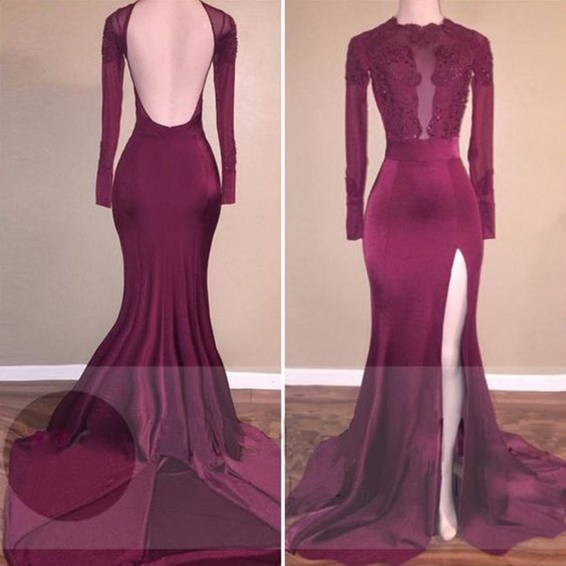 Sexy High Split Backless Burgundy Mermaid Prom Dress 2017 ...