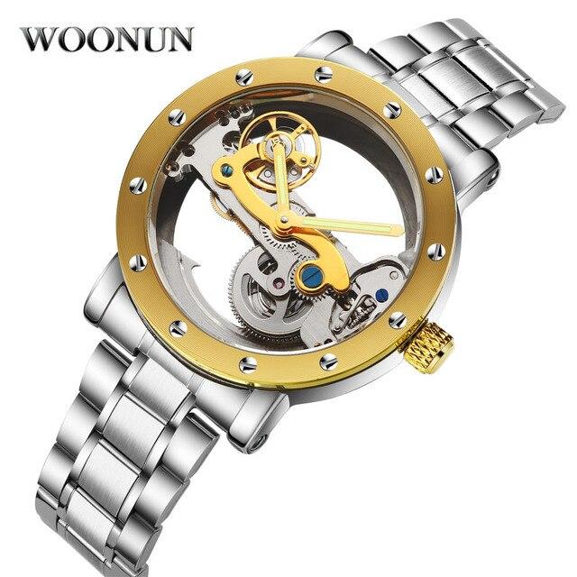 4ada7832d45 WOONUN Luxo À Prova de Choque À Prova D  Água Relógio Esqueleto  Transparente Mecânico Automático