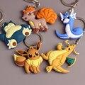 3D Ir Juego Eevee Pokemon Dragonite Vulpix Snorlax Dratini Clave cadena y Anillo Dominante Llavero Titular de la Porte clef Hombres Regalo mujeres