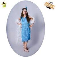 חמה מכירת בנות QLQ Flapper תלבושות קוספליי מסיבת תחפושות ילדה חיקוי בגדי צבע כחול בגדים לשחק תפקיד שמלת סנפיר