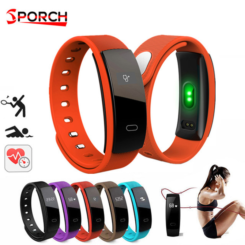QS80 pulsera inteligente presión arterial Monitor de ritmo cardíaco impermeable relojes Wristband Pedometer Fitness Tracker para Android Ios