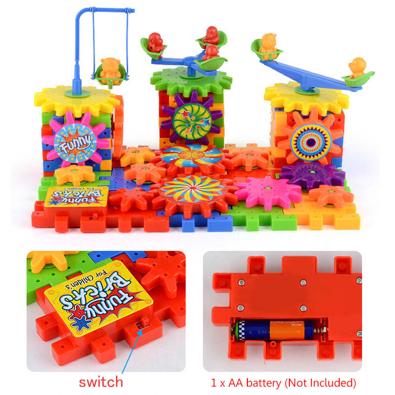 81PCS Electric Gear 3D Puzzle Building Kits Educational Plastic Bricks Toys For Kids Toys For Children Christmas Birthday Gifts in Puzzles from Toys Hobbies