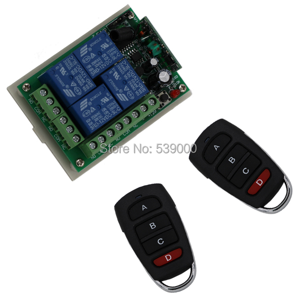 Receiver DC 12V 4CH 200M Wireless Remote Control Relay Switch 2 Transceiver