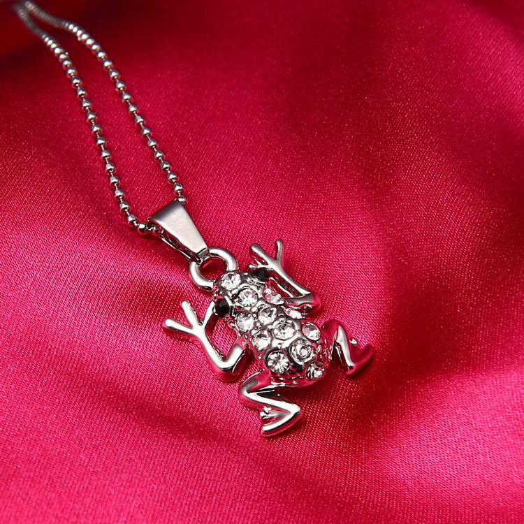 frog Pendant Necklace Silver plated for Women Sweater necklace Alloy + zircon Christmas Birthday Gift