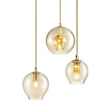 цена на Vintage post-modern pendant lamp cafe living room badroom led luminaire gloden Glass Ball Lamp clarity lampshade pendant lights