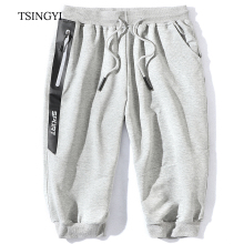 Tsingyi Summer 8XL Big size Men Beach Shorts Cotton Knee Length Straight Homme Mens Casual Compression