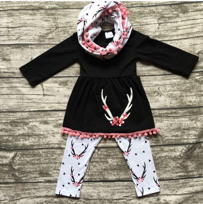 2017 Spring Baby Girl Clothes Fashion Newborn Baby Girls 3pcs T shirt+pant+Bib Long Sleeve girls Clothing set Roupa De
