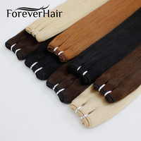 FOREVER HAIR 100g/pc 16 18 20 Remy Human Hair Weave Straight Hair Extension Bundle Weft Platinum Blonde Color Bundles 100g/pc