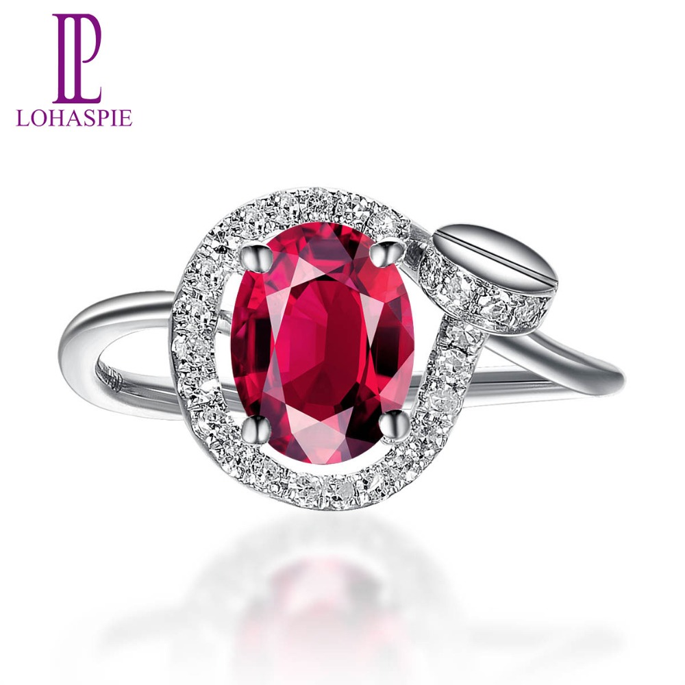 LP Natural Rubellite & Diamond Solid 18k White Gold Trendy Clou Engagement Ring Diamond Jewelry For Women