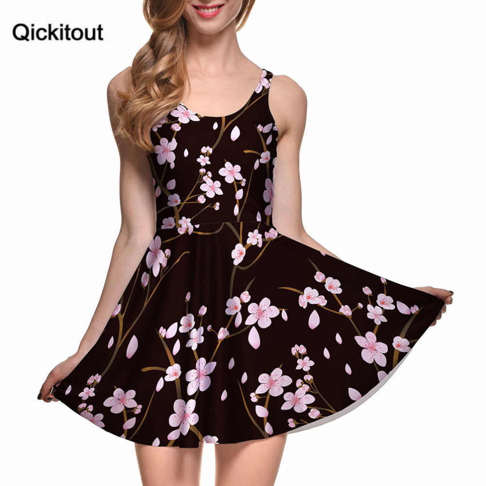 Drop Ship Vestidos Mujer Tallas Grandes Women Casual Dress Cherry Blossom Black Reversible Skater Dress Pleated Print Dresses Print Dress Skater Dresscasual Dress Aliexpress