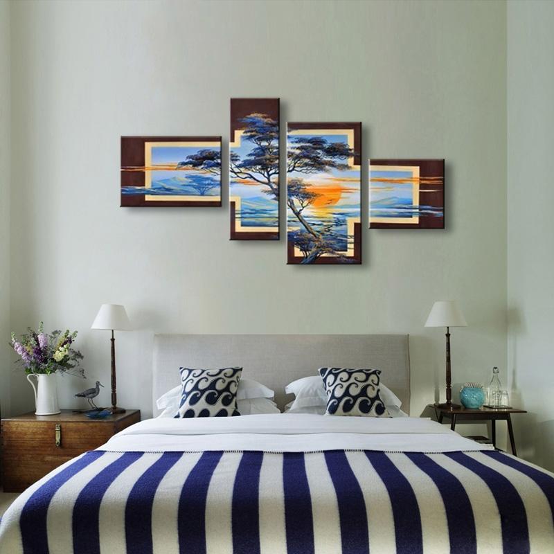 hecho a mano unidades de oro moderna pintura al leo abstracta moderna en lona wall