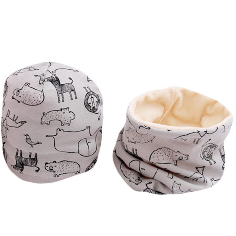 New Plush Baby Hat Scarf Set Cartoon Boys Girls Head Cover Winter Warm Neck Collar Kids Beanies Sets Cotton Children Hat Scarf