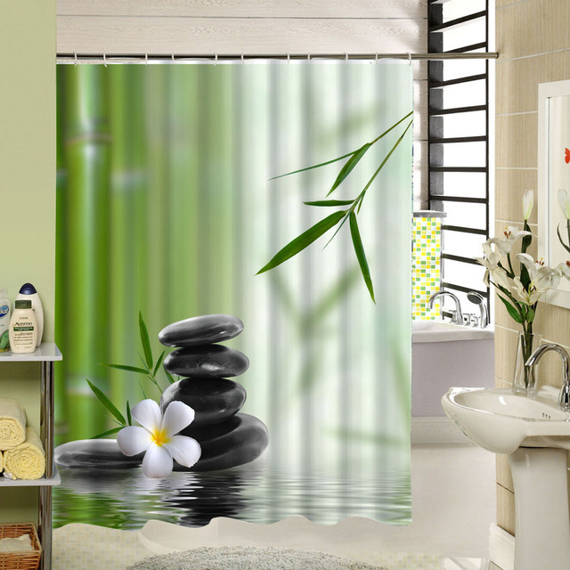 Bamboo Shower Curtain Stone Flower Green Zen Bathroom