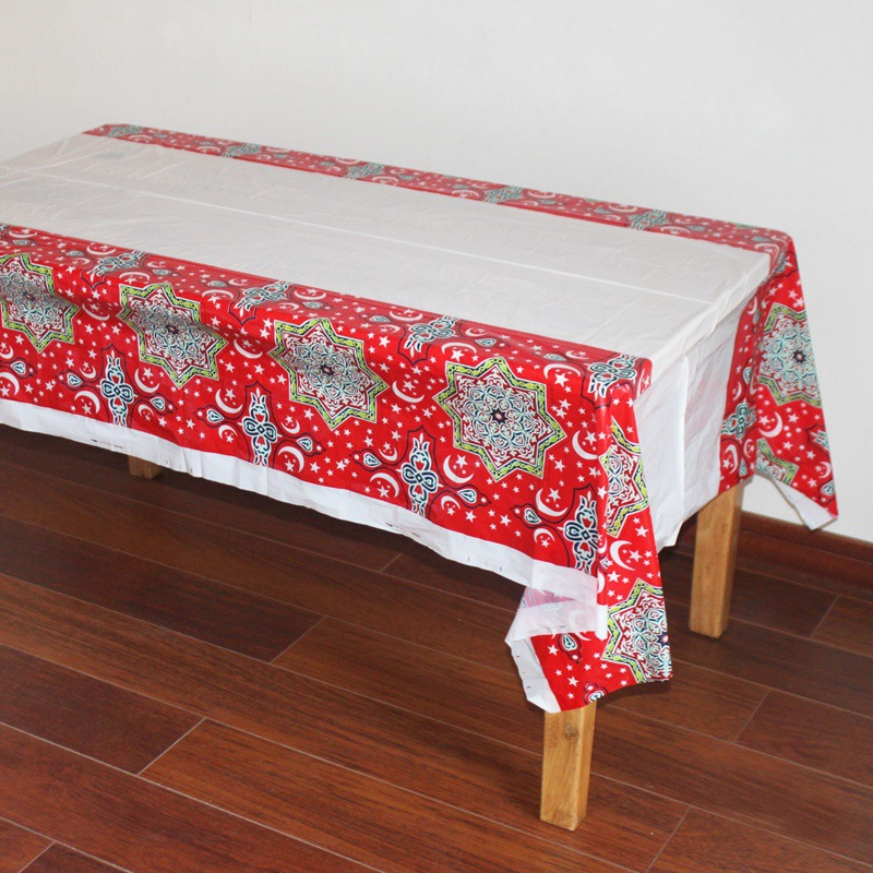 1PCS Plastic Table Cloths Eid al-Fitr Mubarak Ramadan Table Cover Tablecloth Waterproof For Moslem Islamism Decoration