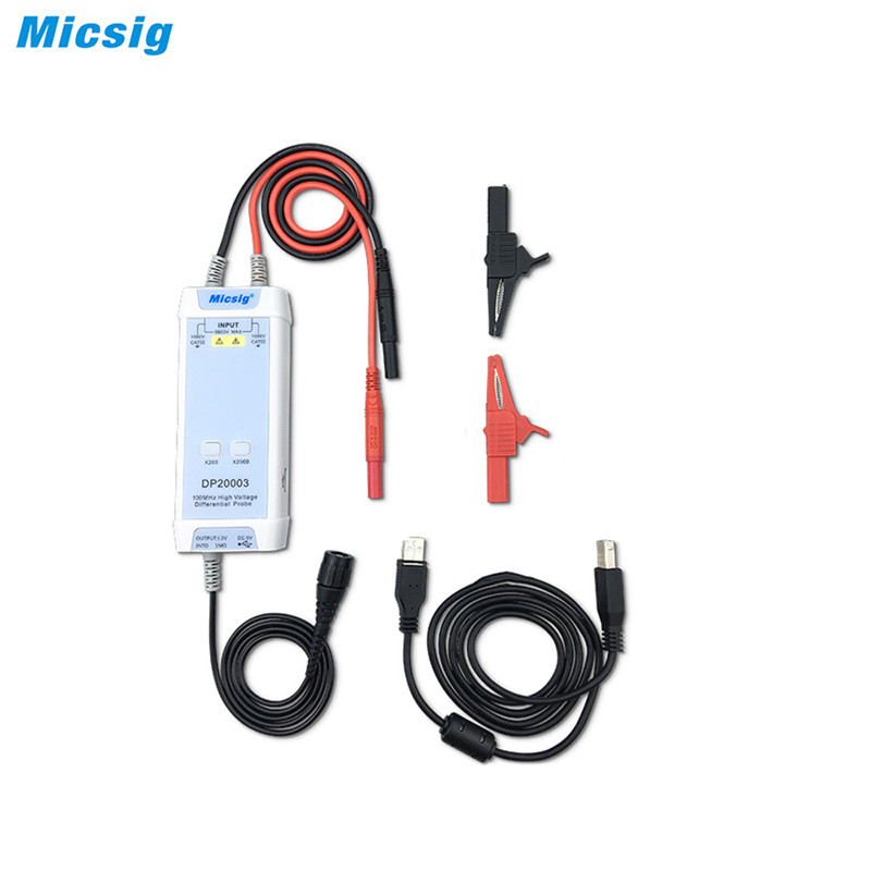 Micsig Oscilloscope 5600V 100MHz High Voltage Differential Probe DP20003 kit 3 5ns Rise Time 200X 2000X