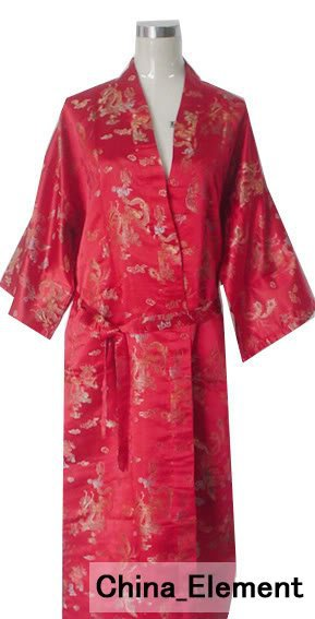 Hot Sale Red Chinese Men's Polyester Satin Robe Dragon Phenix Kimono Bath Gown SIZE S M L XL XXL 3XL LDF-7
