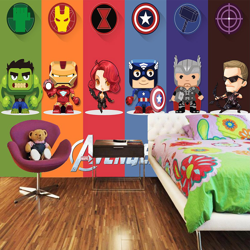 Buy 3d avengers wallpaper hulk badge wall for Boys mural wallpaper