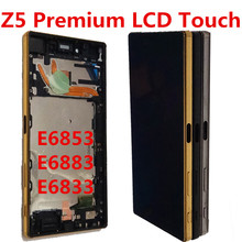 black For Sony Xperia Z5 Premium E6853 E6883 E6833 LCD Display with Touch Screen Digitizer Assembly with Button Frame new lcd screen and digitizer assembly replacement for sony xperia z5 premium black