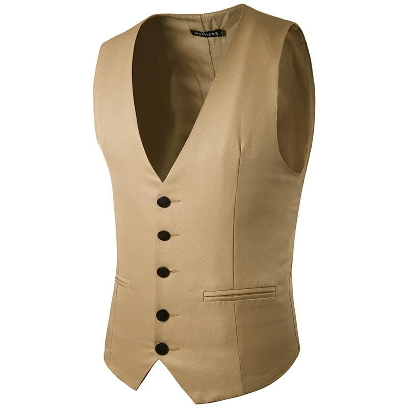 Mens Khaki Slim Fit Suit Vest 2019 Brand New Formal Business Male Waistcoat Vest Men Party Wedding Vests Gilet Costume Homme