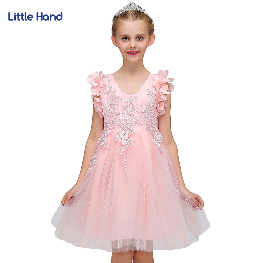 Girls Mesh Princess Dress Children's Casual Clothes Kids Pink Chiffon Lace Girl Party Holiday  2018 New Summer Costume Dresses new cinderella princess girl dress kids christmas dresses costume for girls party crown necklace fantasia dress kids clothes
