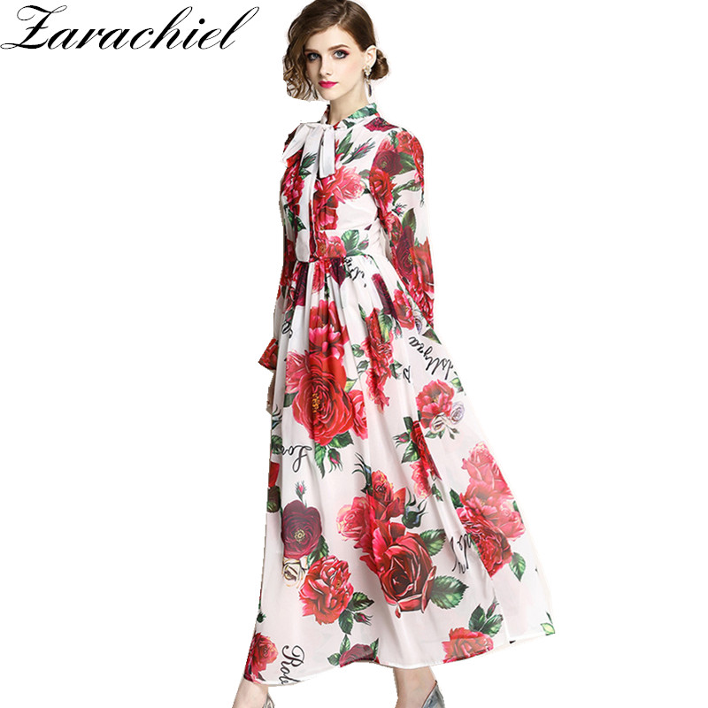 US $23.39 22% OFF|Lady Chiffon Dress 2019 Summer Runway Maxi Dresses Plus  Size Women\'s Long Flare Sleeve Elegant Bow Rose Floral Print Long Dress-in  ...