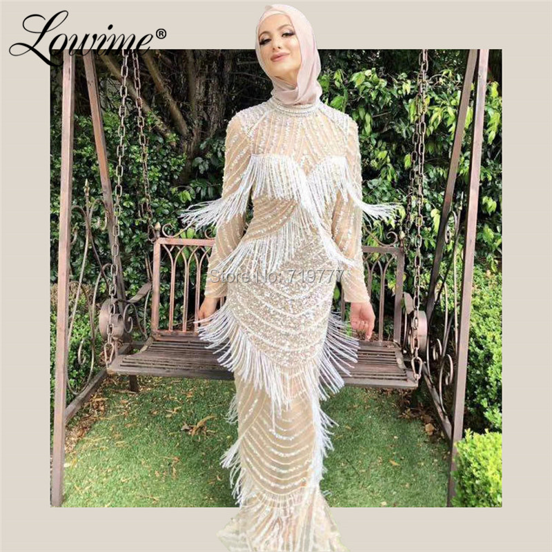 Couture Beaded Muslim Middle East Women Formal Gown Crystals   Evening     Dress   Robe De Soiree Dubai Arabic Party Prom   Dress   Kaftans