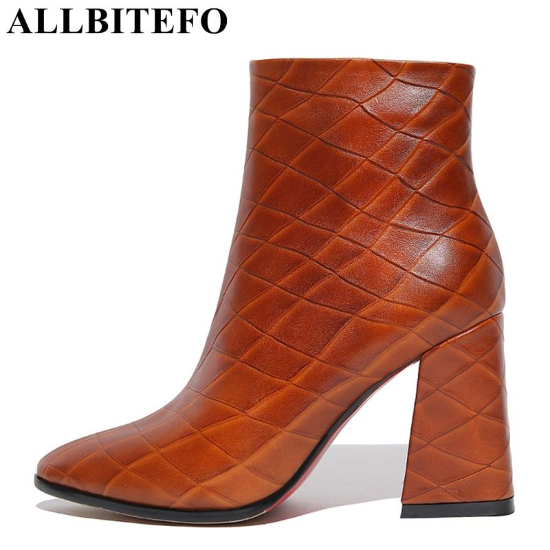 ALLBITEFO new fashion brand genuine leather pointed toe thick heel women boots Stone texture high high ankle boots ladies shoes