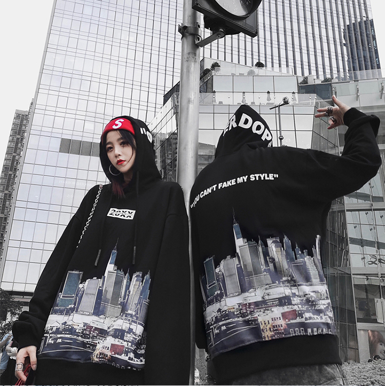 2018European and American hip hop city slogan printed hooded hoodies for men and women loose-fitting alphabet hoodies