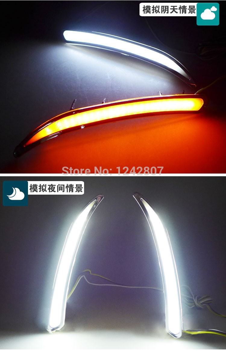 Фотография eOsuns led drl daytime running light for Regal GS, Opel Insignia, with yellow turn signal, top quality