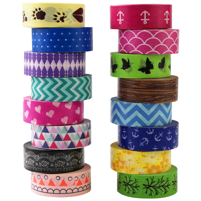 1 Roll Colorful Washi Tape Paper Masking Tapes Patterns Designs Label Adhesive Tape DIY Scrapbook Sticker,15mm*8m
