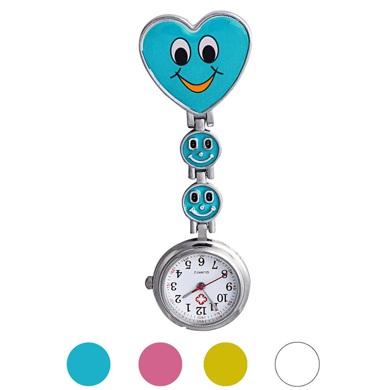 2018 High Quality Smile Face Design with Stainless Steel Thicker Chain Brooch Luminous Watches for Nurse and Doctor Quartz Watch