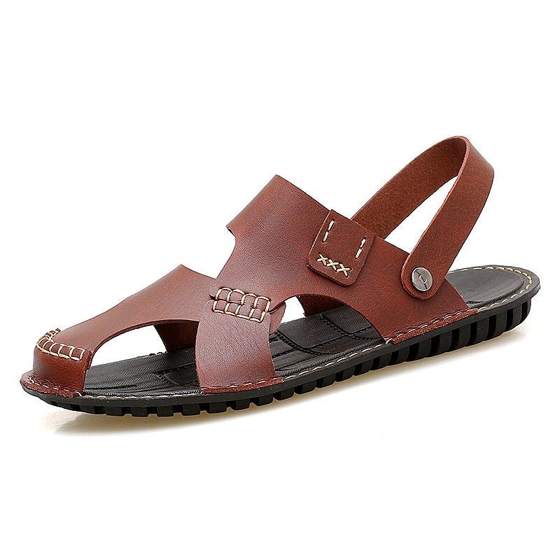 2020 LAISUMK Top Quality Sandal Men Summer Slippers Male Pu Leather Sandals Men Outdoor Beach Shoes