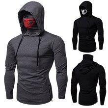 Новая мужская эластичная одежда для фитнеса, мужская униформа ниндзя с капюшоном, футболка с длинными рукавами, маска с черепом, маска с длинными рукавами высокого качества