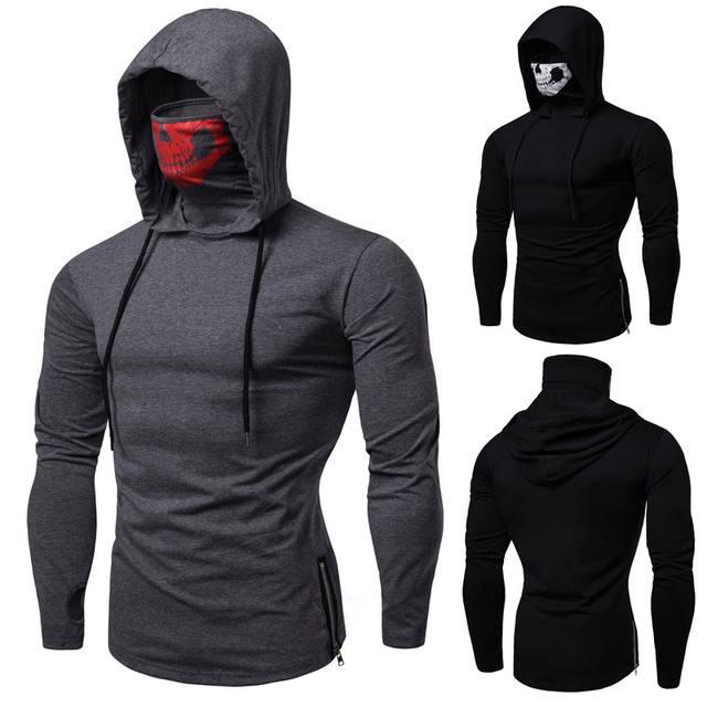 High quality men's ninja uniform mask hoodie long sleeve t-shirt