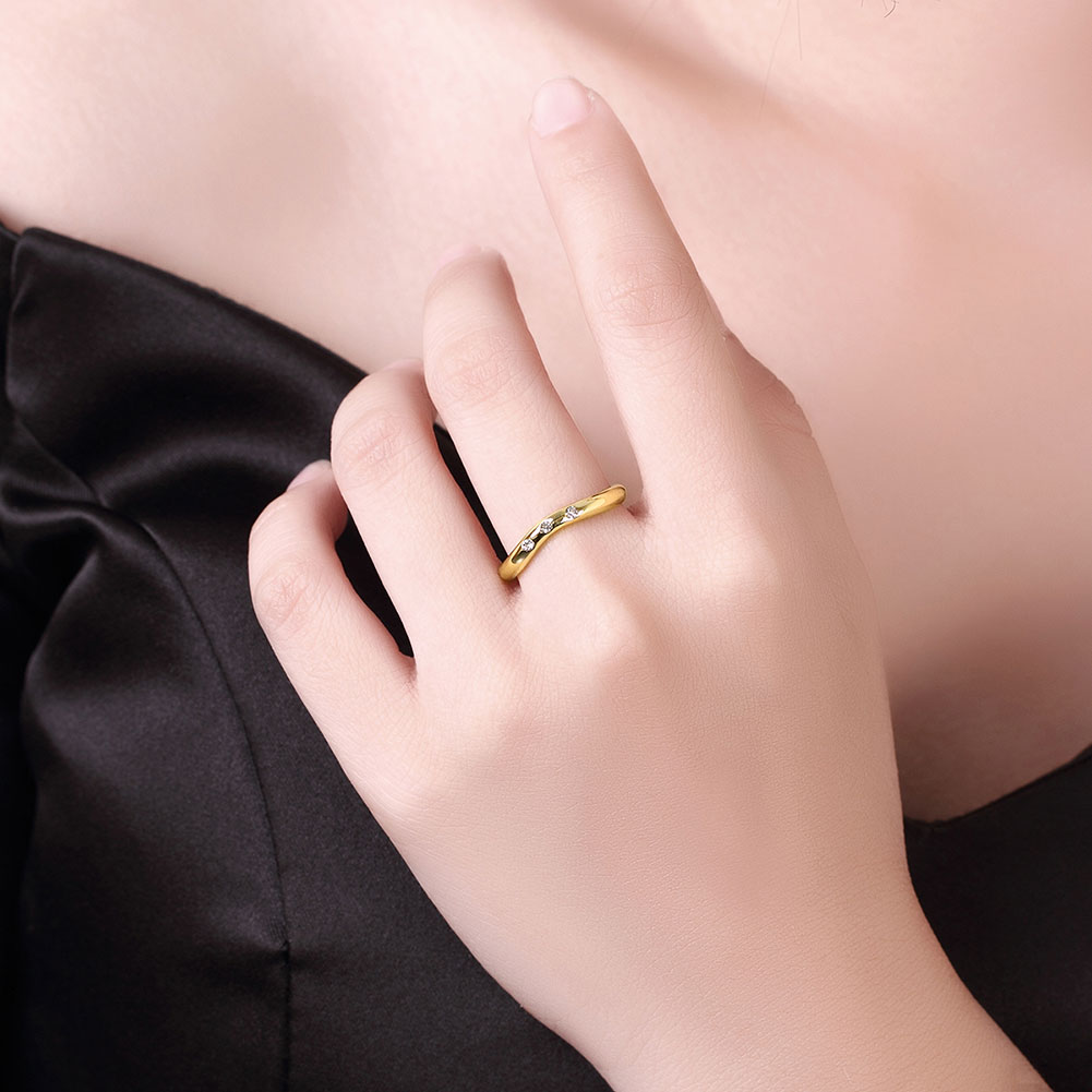 Women\'s Yellow Gold Color Cubic Zirconia Ring Trendy Party Geometric ...