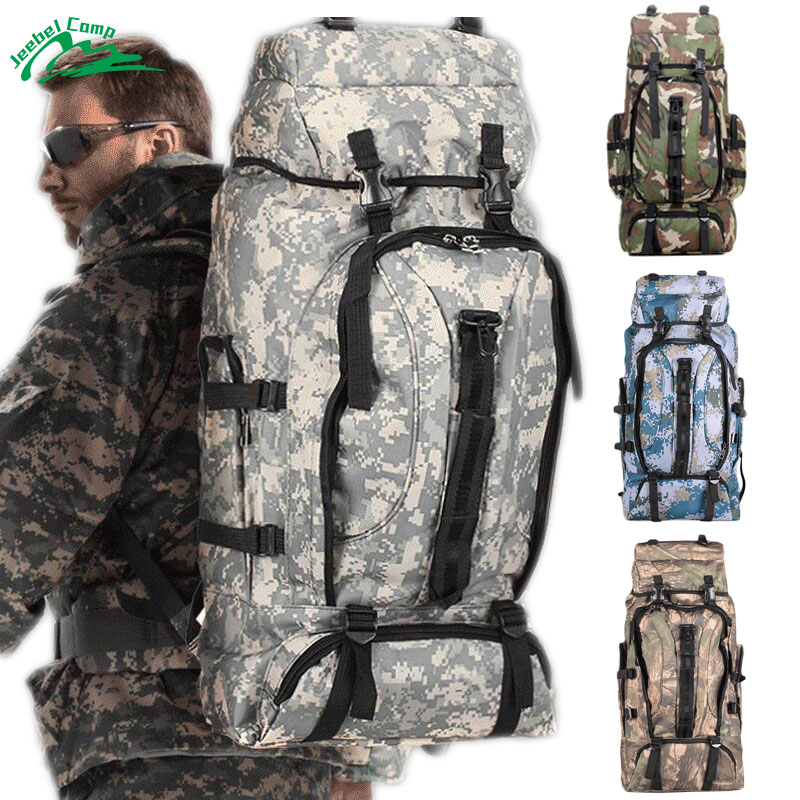 Jeebel 70L Military Backpack Travel Tent Bag Outdoor Camping Hiking Tactical Camo Army Shoulder Adjustable Waterproof tactical outdoor double shoulder backpack bag army green