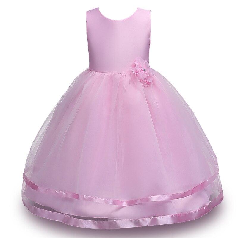 3-12 t vestido de fiesta chica vestido largo flor Bow Kids vestido ...
