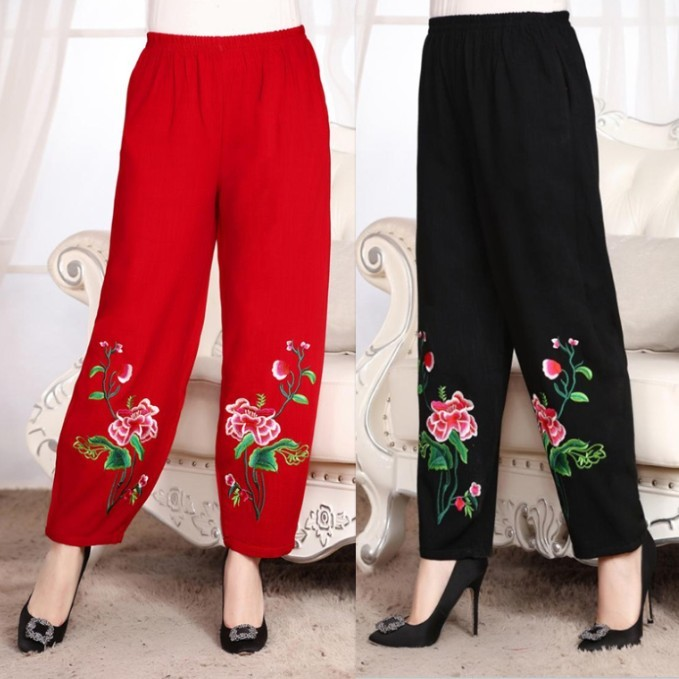 Chinese Style 2019 Plus Size Women Clothing Summer Elastic Waist Embroidery   Wide     Leg     Pant   Vintage Cotton Linen Trousers Y243