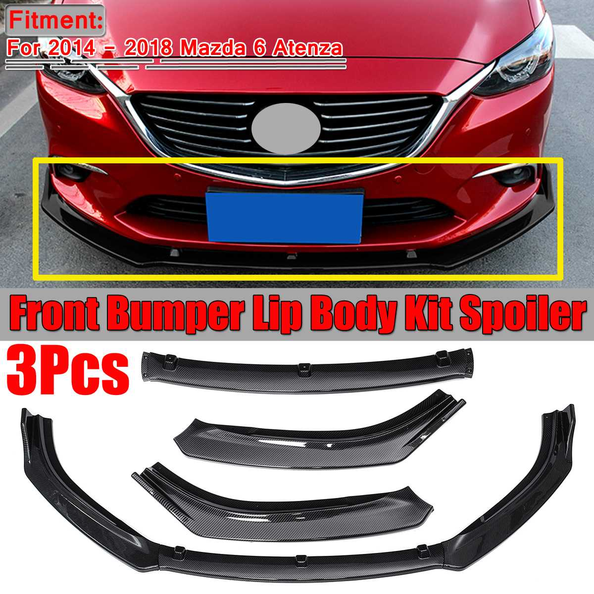 New 3pcs Car Front Bumper Splitter Lip Cover Trim For Mazda 6 Atenza 2014 2015 2016 2017 2018 Front Bumper Diffuser Spoiler Lip