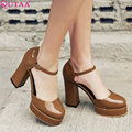 QUTAA 2017 Women Pumps Summer Ladies Shoe Square High Heel Ankle Strap Pointed Toe Sexy Woman Wedding Shoes Size 34-42
