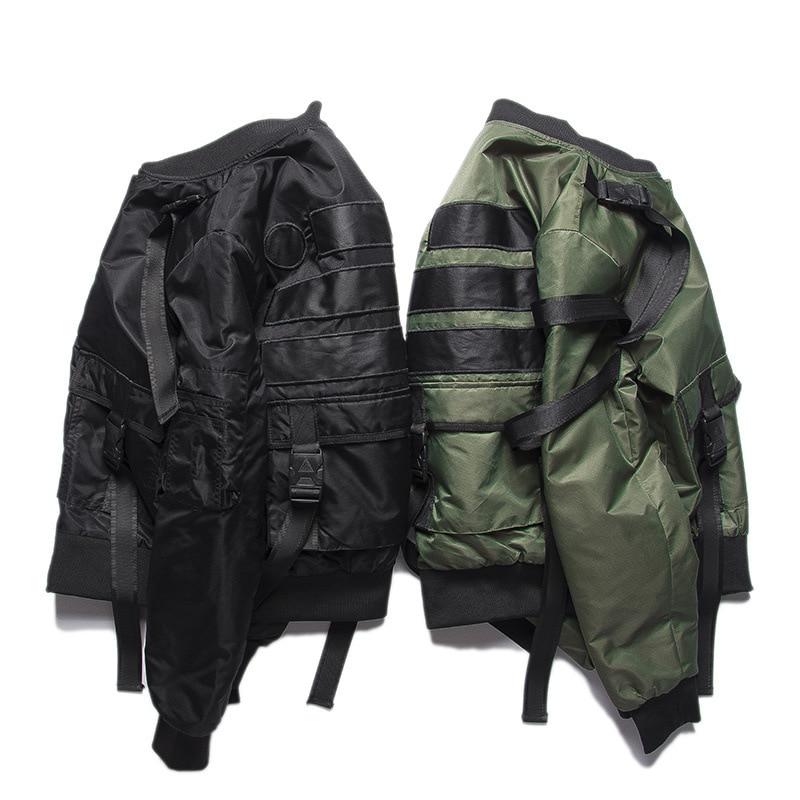 High-Street Original couleur unie sangle pilotes MA1 veste marée marque Rock Punk Style épaississement manteau marée hommes vêtements urbains Tyga