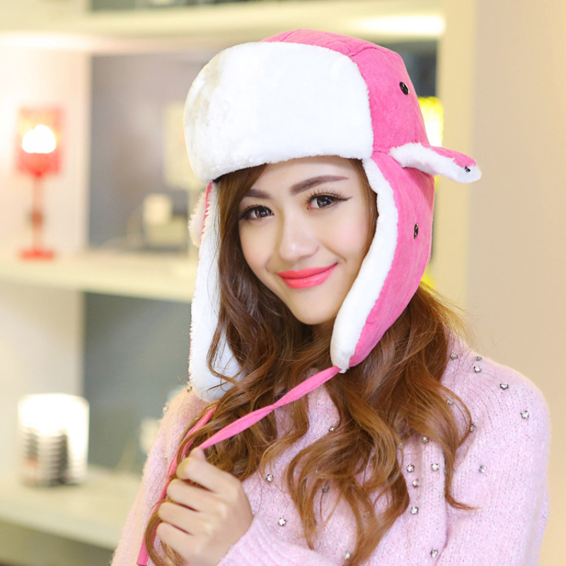 Bomber Hats Faux-Fur Pink Earflap Russian Trapper Winter Women for Thickening Keep-Warm
